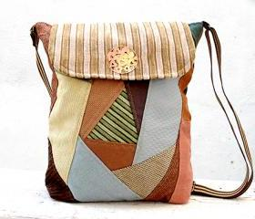 Backpack or Hobo Bag Green Beige Brown, Cotton Patchwork Bag, Book Bag, City Bag. Ready to Ship, OOAK