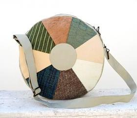 Round Backpack or Round Bag Green Beige Blue, Cotton Patchwork Bag. Ready to Ship, Single Copy.