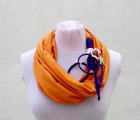 Orange T shirt Scarf, Loop Scarf Infinity, T shirt Necklace, Spring Summer