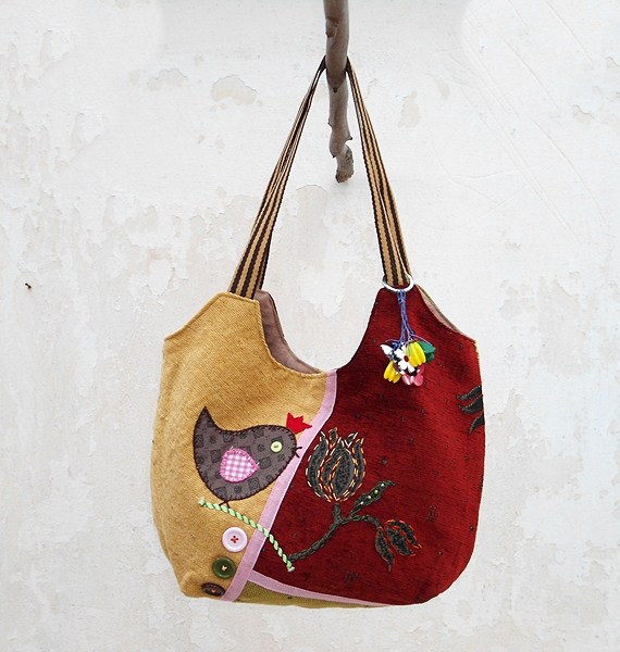 Hobo Bag In Red Green Yellow, Patchwork Bag Little Bird, HandMade ...